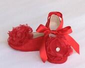 Red Silk Baby shoe, Toddler Flower Girl, Little Girl Ballet Flat, Valentines Day Ballet Slipper, Red Wedding Shoe - Baby Souls  Baby Shoes