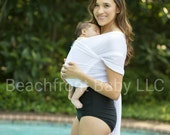 Beachfront Baby Wrap Carrier- water babywearing the beach, pool, water park or in the shower- WHITE WAVE mesh
