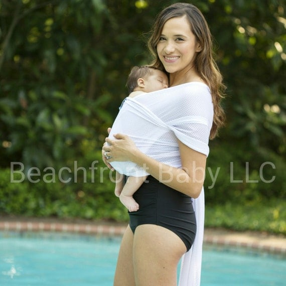 USA made Beachfront Baby Wrap Carrier- Safe water babywearing at the beach, pool, water park or in the shower- WHITE WAVE mesh