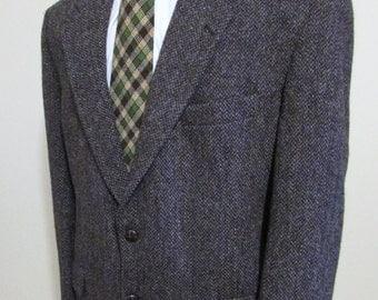 Vintage Mens Harris Tweed Jacket Size 42 Quality Harris Tweed Blazer-Harris Tweed Sportcoat Multi Colored Brown And Single Blue Thread