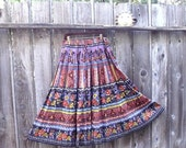 Gypsy Crinkle Gauze Maxi Skirt. Boho Cotton Maxi Skirt.
