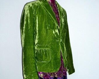 Gypsy's vibrant green velvet jacket