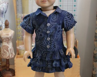 Contemporary Mini Dress in Vintage Kimono Fabric for 18 Inch Doll, C215