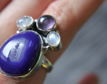 SPRING SALE 60% off! Blue Agate Chalcedony, Amethyst, Moonstone, Silver Ring, Size 5