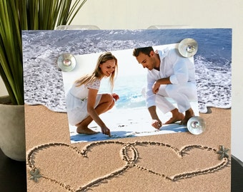 "Two Hearts in the Sand Wedding Beach Magnetic Frame handmade gift magnetic picture frame holds 5"" x 7"" photo 9"" x 11"" size"