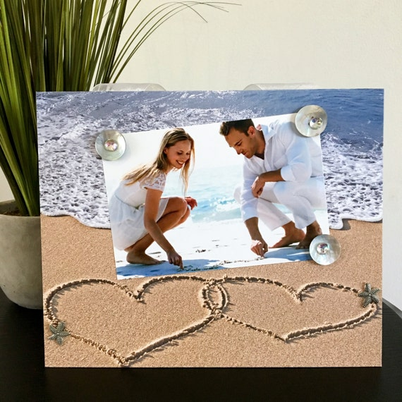 Two Hearts in the Sand Wedding Beach Magnetic Frame ...