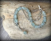 Faceted Aquamarine Multi-Strand Sterling Silver Bracelet