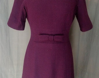 Vintage 1950s Wilshire of Boston Dress / 50s Deep Magenta Wool Dress with bow at waist Size 4/5