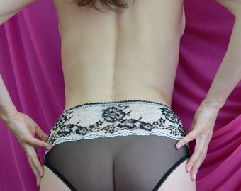 Women Sleepwear & Intimates Panties Handmade Lingerie The Romantic Lacey  Ivory  Lace Black High Waist Panties MADE TO ORDER