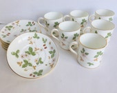 Wedgwood Bone China Cups and Saucers Wild Strawberry Pattern Serving for Six
