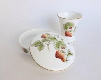 Coalport Bone China Set Strawberry Pattern Posy Vase and Lidded Trinket Dish
