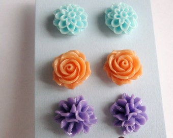 Set of 3 pairs - light blue, purple and orange floral earrings - set of posts