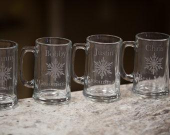 Winter wedding beer mugs with snowflake, Gift for Groomsman, best man beer glasses, sand blasted, engraved beer glass. Christmas gift idea