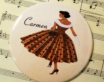Personalized African American Woman Lipstick Mirror, 1950's Fashionista in Golden Brown Scoopneck Polka Dot Dress,Large 3.50 Inches