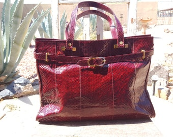 Vintage Reptile Exotic Snakeskin Oxblood Red Burgundy Wine Satchel Handbag
