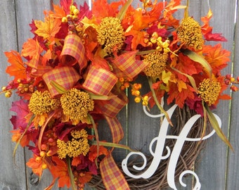 Fall Wreath, Fall / Autumn Wreath, Plaid Fall Wreath, Fall Monogram Wreath, Wreath with Letter, Horn's, Bright Fall Wreath in Orange
