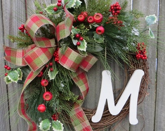 Christmas Wreath, Holiday Wreath, Christmas Door Wreath, Monogram Decor, Initial, Letter, Personalized Christmas Decor, Woodland Wreath