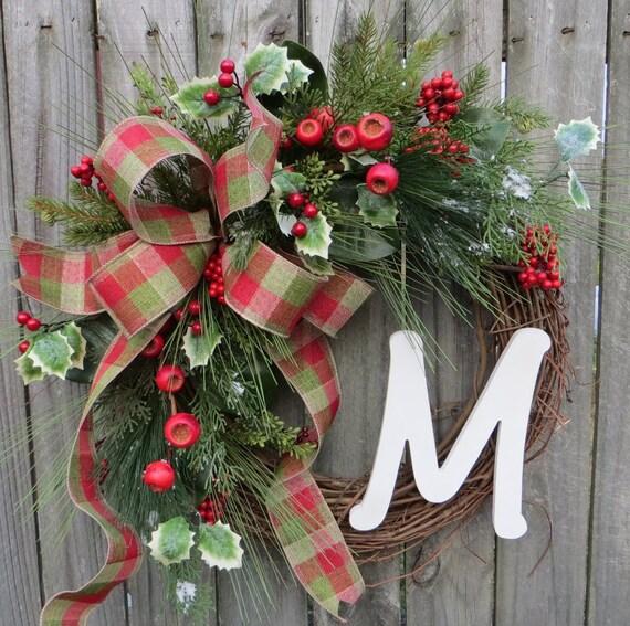 Christmas Wreath, Holiday Wreath, Christmas Door Wreath, Monogram Decor, Initial, Letter, Personalized Christmas Decor, Woodland Wreath