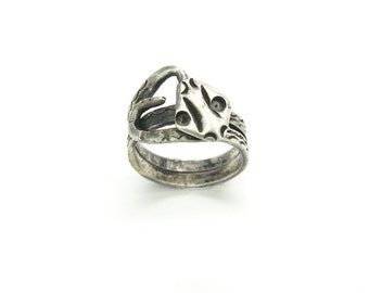 Snake Ring. Double Band Wrap Around. Taxco Silver. Hand Stamped & Engraved Sterling. Size 6.5. Vintage 1960s Serpent Jewelry. Eagle 3