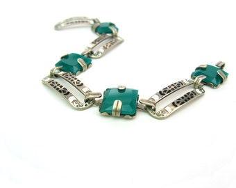 Art Deco Bracelet. Chrysoprase Glass, Sterling Silver, Black White Enamel Links. Arts & Crafts Signed. 1920s Deco Handmade Artisan Jewelry