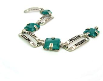 Art Deco Bracelet. Chrysoprase Green Glass. 1920s Handmade Artisan Jewelry. Sterling Silver, Black White Enamel Links. Arts & Crafts Signed