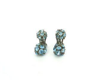 Ball Earrings. Aqua Blue Rhinestone Dangles. Turquoise Crystal Clip Ons. Vintage 1950s Glamour Jewelry
