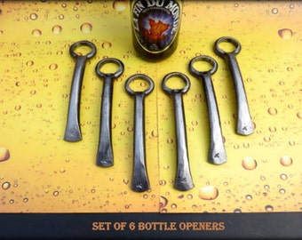 6 GROOMSMEN GIFTS Bottle Openers - Personalized Option Available - Hand Forged by Naz - Gifts for Groomsmen Ushers  Engagement  Gift  Men