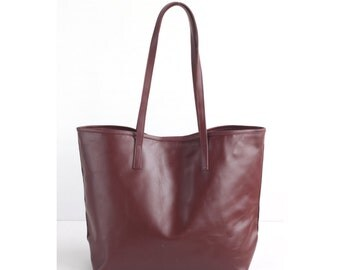JAIMEE Maroon Leather Tote bag. Ox Blood Leather Bag. Tote Zipper Bag. Leather Hangbag. Women Handbag. School Tote Bag. Leather CarryAll