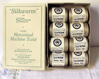 vintage cotton reels in original box - Australian made  - 1940s deadstock - photography props