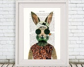 Rabbit Poster, vintage rabbit illustration, Bunny Print, bunny art, rabbit digital art, rabbit print by Coco de Paris