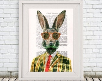 Art Rabbit Print, vintage rabbit illustration, Bunny Print, bunny art, rabbit digital art, rabbit print by Coco de Paris