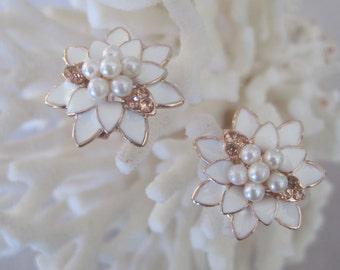 Mother's Rose Gold White Enameled Chrysanthemum Earrings