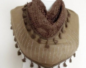 triangle  Bridal Shawl scarf knit flowers neck warmer brown glittering lace double layer