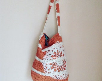 Crochet Tote Bag with a doily, cotton tote bag white and dark pink stripes