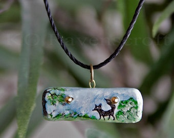 Fox Pendant / fox in a meadow/ necklace handmade