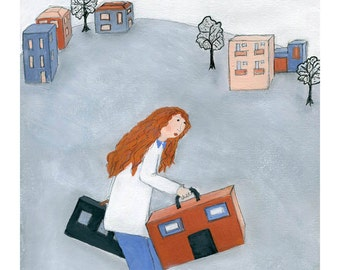 Expat's Life - wall art gift for expat for traveller identity seeking redhead girl moving away gift doctor's office decor surreal for her