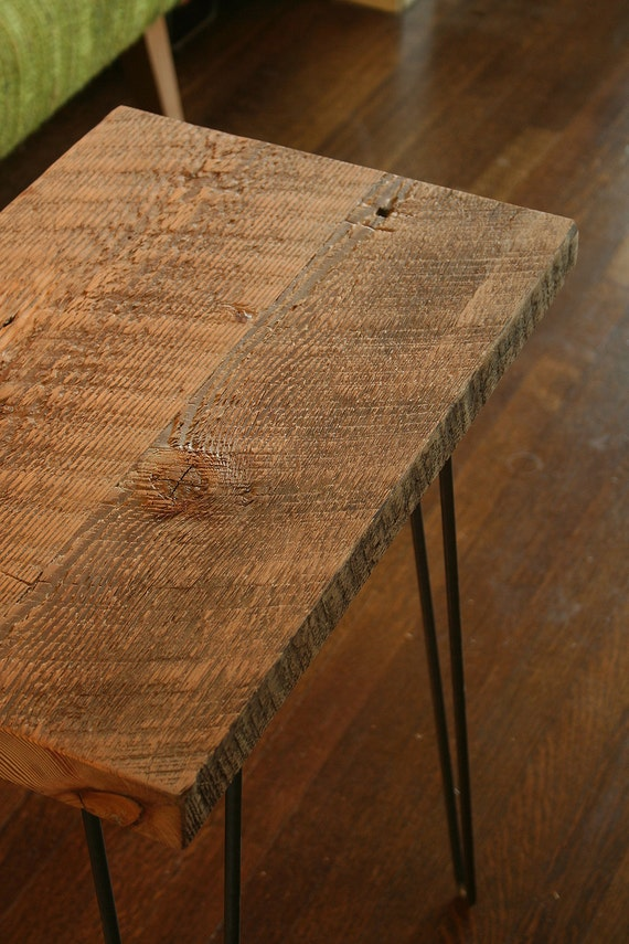 CUSTOM RESERVED for Valoree - modern industrial reclaimed wood side table with steel hairpin legs
