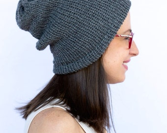 Winter Beanie, Knit Charcoal beanie,charcoal hat, charcoal hat, Knit hat, knit beanie, charcoal knit hat, (The Beanie in Oxford)