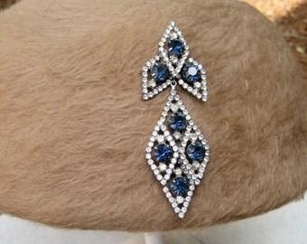 Vintage Huge Rhinestone Brooch Blue Crystal Dangle