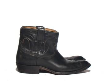 11 D | Men's Nocona Shorty Western Boots  Black Leather Cowboy Boots