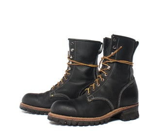 9 E | Men's Steel Toe Logger Boots in Black Leather