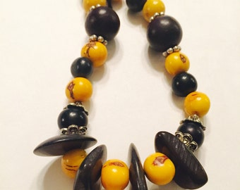 Acai Seed and Tagua Nut Necklace/ Yellow and Black Necklace/ Boho Necklace