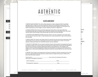 Photography Forms - 6 Essential Contracts and Order Form Templates - Authentic Studio Collection