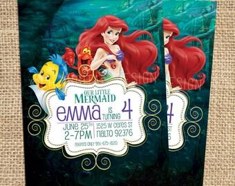 Little Mermaid Invitation,The Little Mermaid Birthday Invitation, Disney Princess Ariel Invite,The Little Mermaid Invitation, Mermaid invite