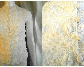 1970's Vintage Irish Lace Vest or Blouse White Mary O'Donnell Designer 38 Bust