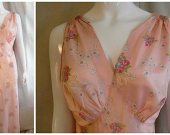Vintage 1940's Nightgown Floral Print Rayon Bias-Cut large 40 bust