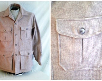 Vintage 1950's Man's Shirt Brown Woolrich Checked Wool Outdoor Jacket