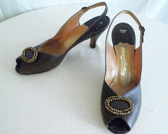 1950's Shoes Vintage Brown Open Toe Slingbacks Jeweled Toe Size 10
