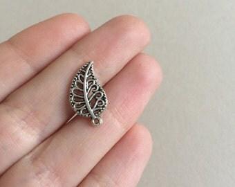 60 Leaf Charms Antique Silver Filigree Leaf Pendants 18x10mm Earring Leaf Charms Leaf Bracelet Pendants Silver Leaves Bulk Silver Charms