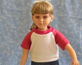 """23"""" Girl Doll Clothes - Fits My Twinn - Pink and White T-Shirt - Handmade"""